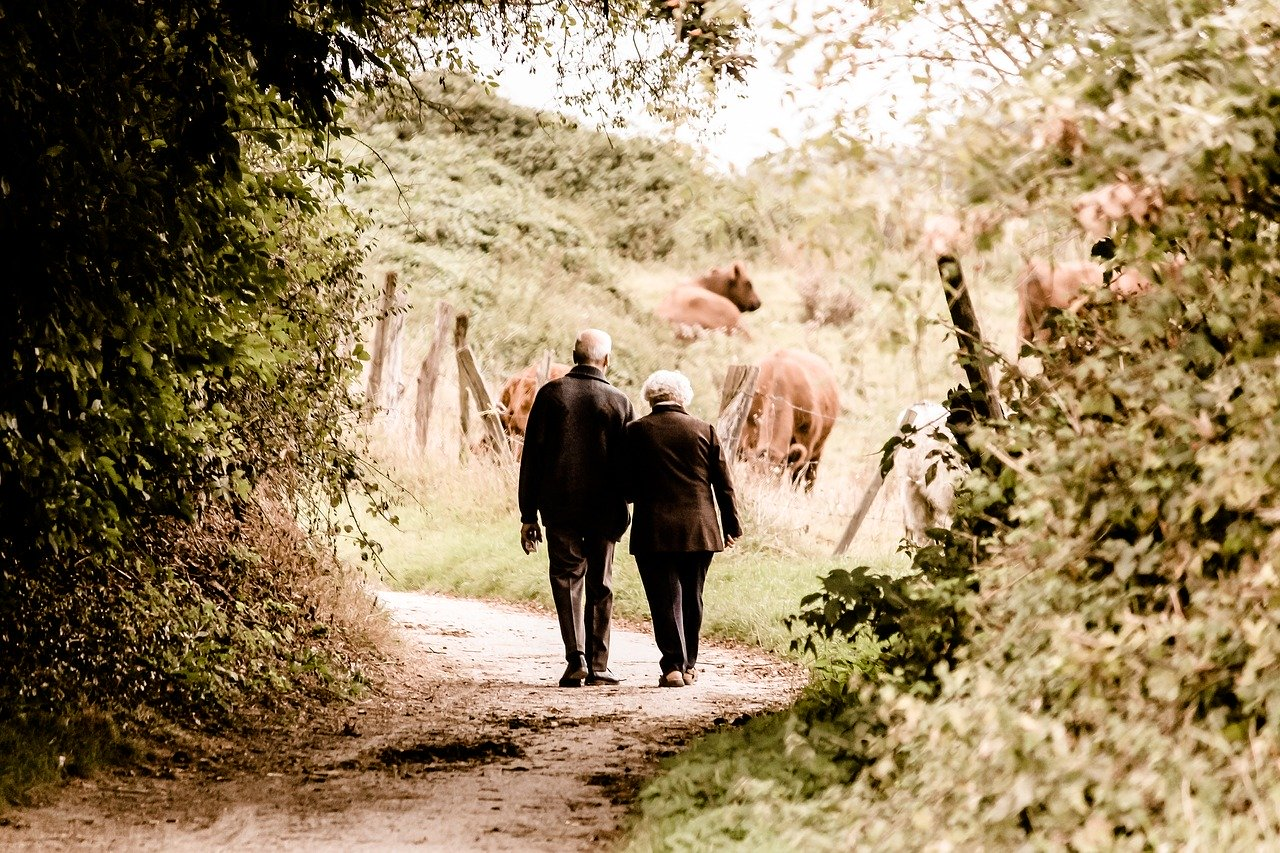 elderly couple walking on path
