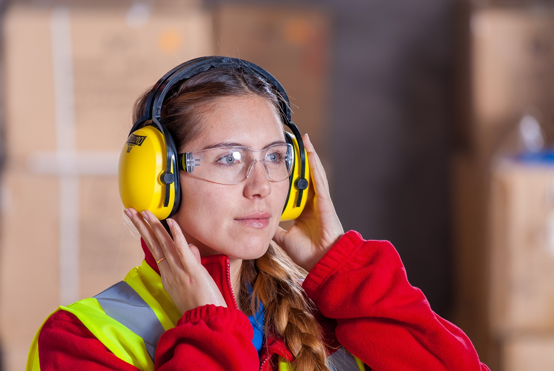 worker with ear protection