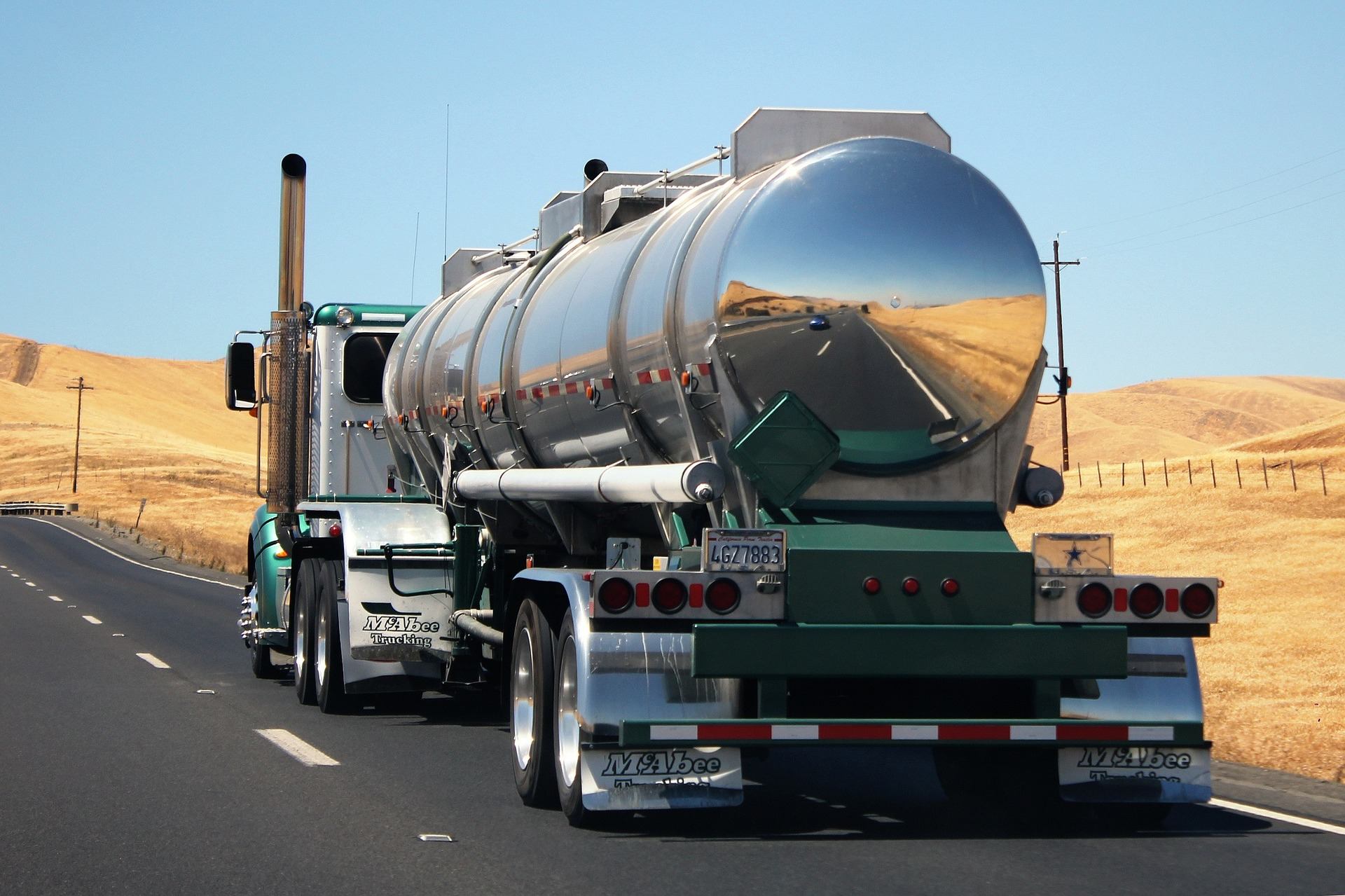tanker tractor trailer on the road