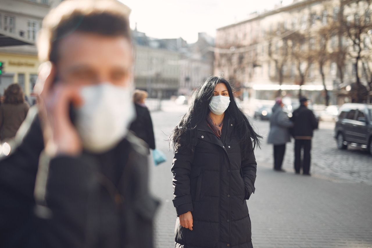 people wearing masks in public