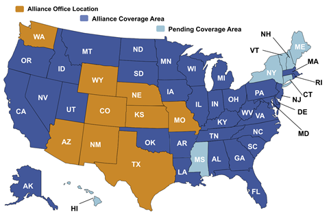 United States map that depicts the states where Alliance Insurance Group has an office, is licensed, or is awaiting coverage.